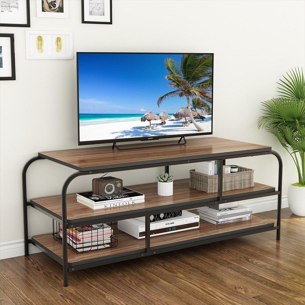 meuble tv 60 center de divertissement avec etageres grande console multimedia a 3 niveaux pour salon cadre en metal robuste chene
