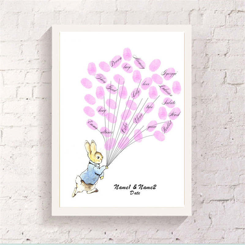 Customized Canvas Cartoon Rabbit Guest Fingerprint Balloon Book Baby Shower Friend Attendance Signature Decorative Art Paintings