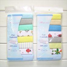 pudcoco 8Pcs Baby Boy Girl Bibs Lovely Towel Square Print Towel Set