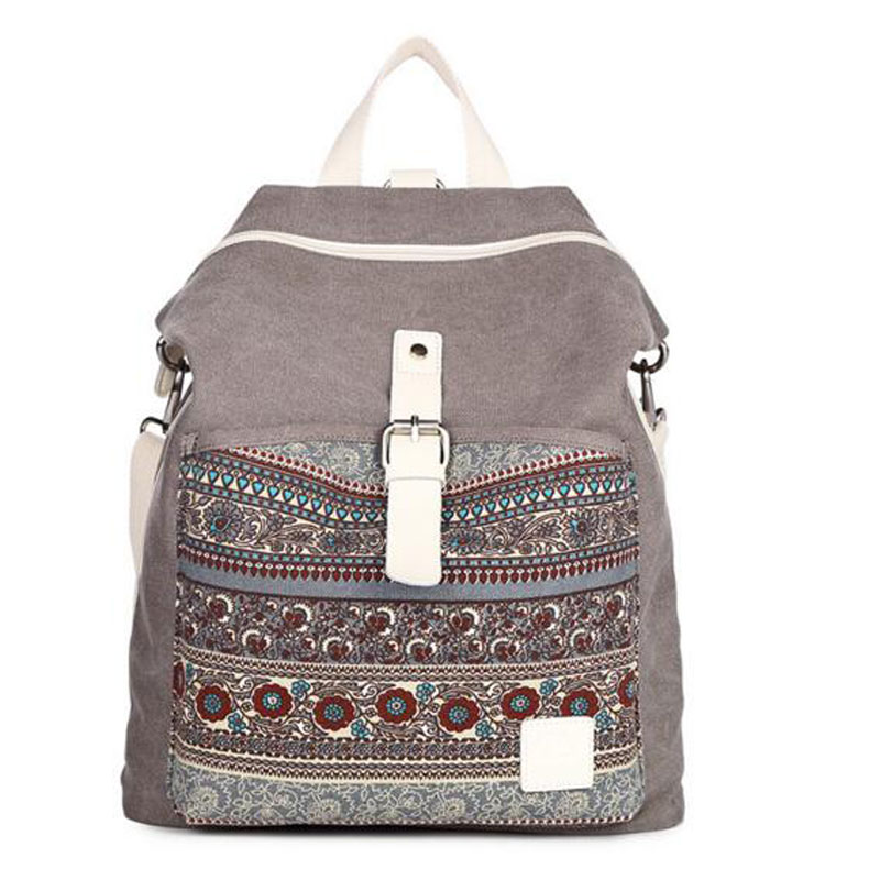 Women National Tribal Ethnic Canvas Backpack Bookbag Female Dual Purpose Shoulder Bag Daily Travel Backpacks Travel Bags