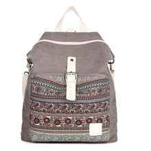 Женщины Национальный Племенной Этнические Холст Рюкзак Bookbag женщины двойного назначения сумка Daily туристические рюкзаки туристические сумки