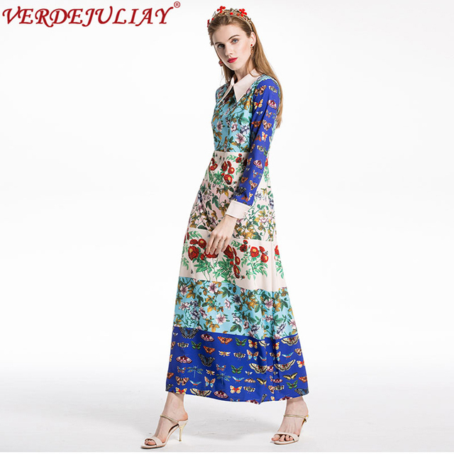 fb6d2bf1b40 Bohemian Long Dresses 2019 Spring Fashion Patchwork Flowers   Butterfly  Print Women Peter pan Collar Ankle-Length Top Dress