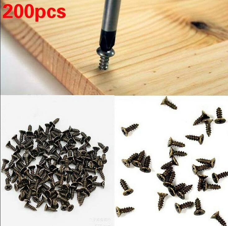 200pcs Micro Screws Countersunk Self-tapping Small Screw Phillips Cross Bolts Wood Screws M2 M2.5 6/8/10mm  Flat Head Fit Hinges