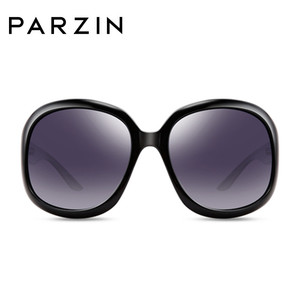 Image 2 - Parzin óculos de sol feminino designer de marca elegante grande quadro polarizado uv 400 senhoras máscaras com caso