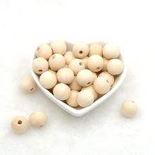 Chenkai 100PCS 16mm Eco-Friendly Teether Beads Unfinished Wooden Teething Natural Color Bead DIY Baby Nacklace Accessory