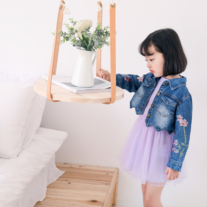 2 Pcs Sets For Girl Autumn children's clothing girl denim embroidery jacket + solid color base dress two-piece suits Clothing solid pocket decoration denim jacket