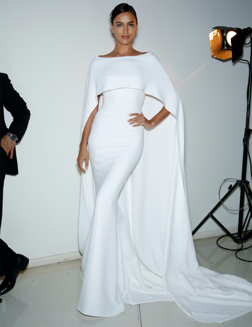 White Mermaid Evening Dress with Cape