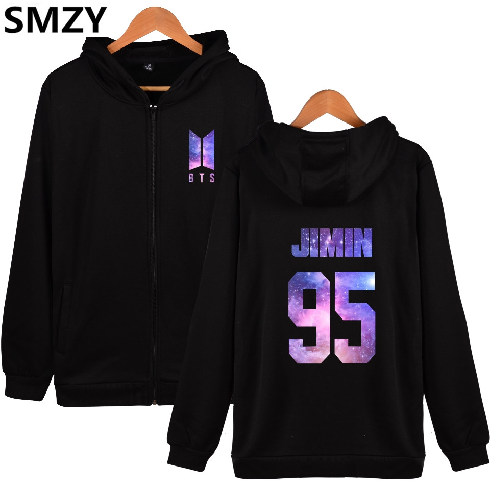 SMZY BTS Kpop Zipper Print Pullover Hoodies Men Bangtan Hip Hop Fanshion Sweatshirt Men Winter Love Yourself Zipper Fans Clother