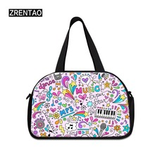 ZRENTAO high quality cotton travel bags with shoes pocket large capacity Mommy musicl printing ladies duffle