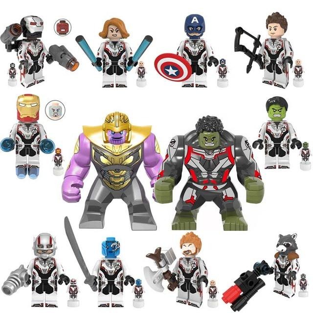 12 pcs Marvel Avengers: fim do jogo Super heroes Hulk Homem De Ferro Máquina de Guerra Mech Figuras de Ação Building Blocks Brinquedos Para presentes Dos Miúdos