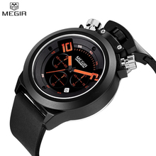 MEGIR Brand Silicone Watch Military Analog Display Date Chronograph Sport Men Wristwatch Relogio Masculino