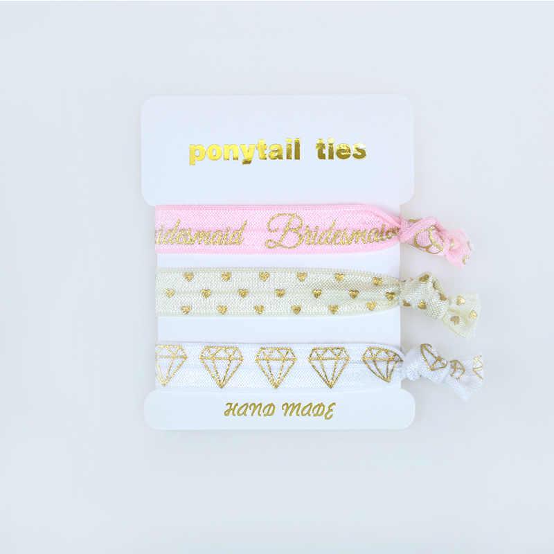 Набор галстуков для волос Для Подружек Невесты Девичник и свадебный душ вечерние сувениры. Девичник или надпись «Bride Tribe» Подарки 5x3 шт. пакеты
