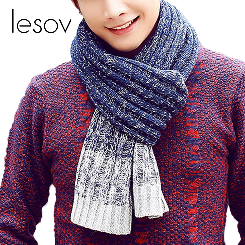 Lesov Male Oversize Knitted Winter Scarf Wraps Neck Warmer Faux