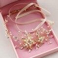 Grânulos da pérola headbands cocar de noiva artesanal de cristal tiara headband nupcial do casamento acessórios para o cabelo boho chique