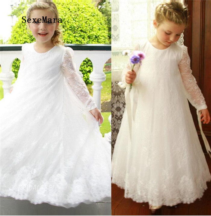 Charming Flower Girl Dress Ivory White Lace Ankle Length Long Sleeves A-Line O-Neck Girls Birthday Party Dress Size 2-16Y 63a 3 p 3 p n rcbo rcd выключателя de47le delxi