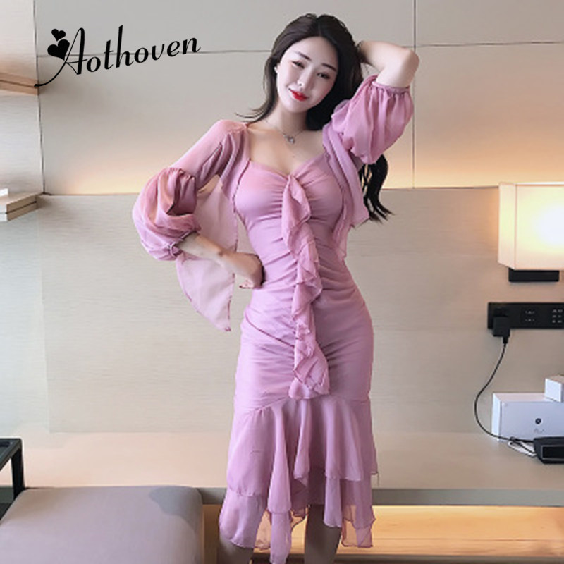 2 Piece Set Women Suit 2019 Summer Pink Three quarter Sleeve Coat and Ruffles Spaghetti Strap Sexy Party Dress Vacation Vestidos