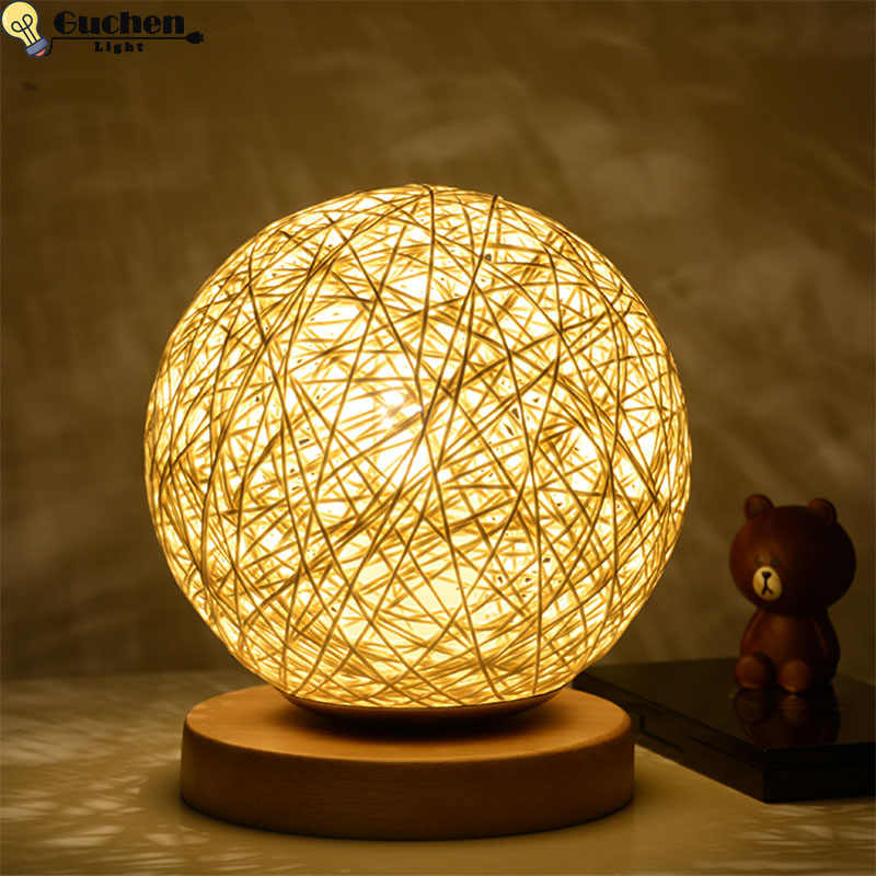Дизайнерская настольная лампа винтажная Лофт деревянная Светодиодная настольная лампа для чтения, Офисная лампа для домашнего освещения, Декор, нажмите на ночные светильники для малышей/комплект