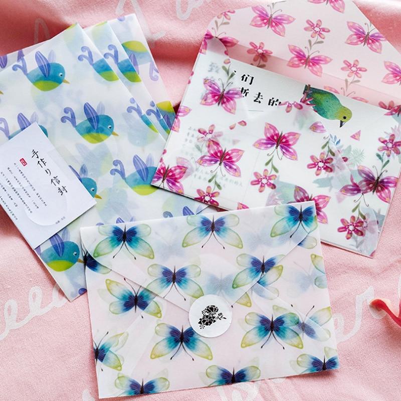 3pcs/lot Handmade Writing Paper Envelopes Letterhead Office Stationery Writing Paper Stationery Kawaii Birthday Envelopes Gift