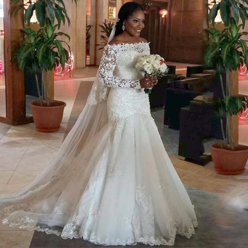 Wedding White Dresses: Veu De Noiva White Wedding Dress Mermaid Boat Neck Lace