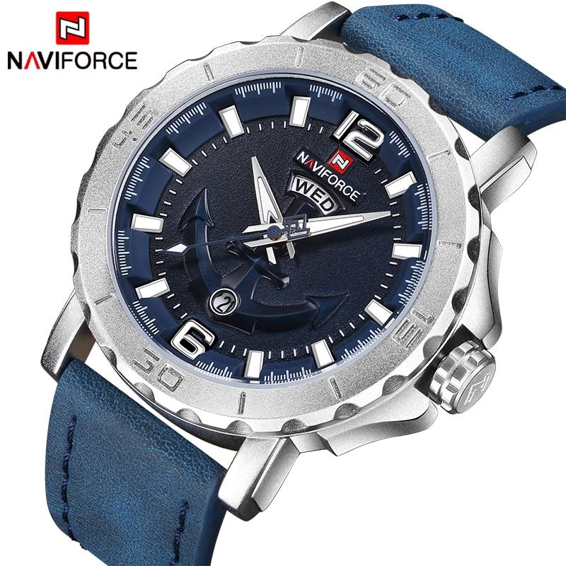 2018 Nouveau Haut De Luxe Marque Naviforce Bracelet En Cuir Sport Montres Hommes Horloge À Quartz Sport Militaire Montre-Bracelet Relogio masculino