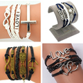 2016 New Arrival retro cross Infinity Love Leather Love Owl Anchor Charm Handmade Bracelet Bangles Jewelry Friendship Gift Items
