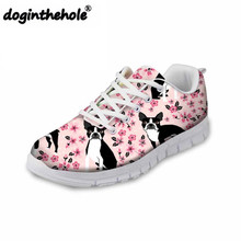 Doginthehole Boston Terrier Prints Female Walking Shoes Outdoor Sewing Sneakers Flat Comfortable Running Lightweight Sports Shoe