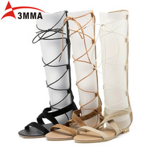 3mma Brand 2016 Sexy Summer Thigh High Gladiator Sandals Open Toe Flat With Boots Leather Black