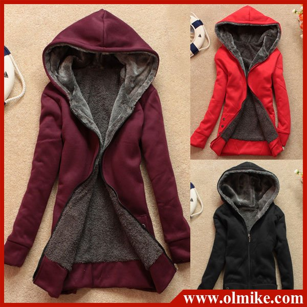 NEW free shipping hair lining women hooded cardigan sweater,full ...