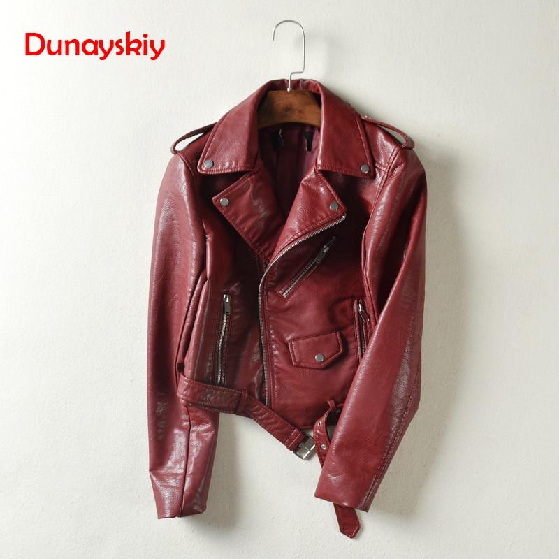 Dunayskiy Women Autumn Winter Clothes Leather Jackets Soft Pu Faux Leather Coat Slim Short Design Streetwear Plus Size Outerwear 4