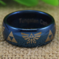Free Shipping!USA Hot Selling E&C TUNGSTEN JEWELRY 100% GOOD QUALITY BLUE DOME TUNGSTEN 8MM ZELDA LORD MEN'S WEDDING BAND RING