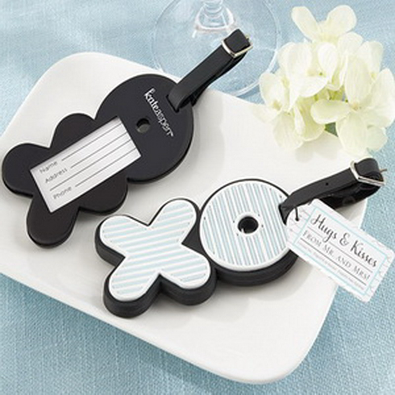 (DHL,UPS,Fedex)FREE SHIPPING+50pcs/Lot+Hugs&Kisses From Mr. & Mrs.Love-Filled Rubber XO Luggage Tags Wedding&Bridal Party Gift