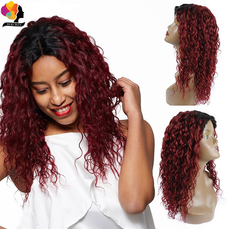 Remyblue Ombre Red Brazilian Water Wave Lace Front Wig T1B 99J Burgundy Lace Front Human Hair