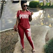 2018 Pink Letter Print Tracksuits Women Two Piece Set Spring Street t-shirt Tops and Jogger Set Suits Casual 2pcs Outfits(China)