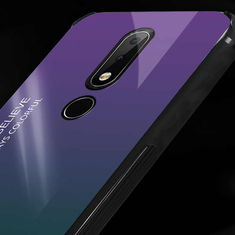 sports shoes 6aac2 edfd8 Gradient Tempered Glass Hard Case With Soft Frame Cover sFor Nokia X6 7  Plus 8 3.1 Plus 7.1 X7 3.1 Plus Glass Phone Coque Capa