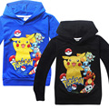 3-9 Años 2016 Camiseta de Los Muchachos de Primavera y Otoño de Dibujos Animados de Manga Larga Camisetas Pokemon Pikachu Ir Niños Calientes ropa Moleton Menino 2017