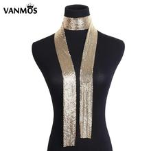 Vanmos Sequin Long Chain Necklace Choker Neck Collar Punk Statement Aluminium Alloy Necklace for Fashion Women Jewelry punk style alloy chain embellished necklace for women