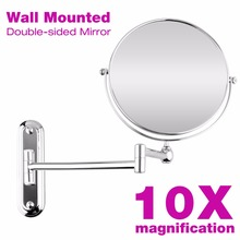 8 Inch Wall Mounted Extending Folding Mirror Double Side Cosmetic Make Up Bathroom Ladys 10x Magnification