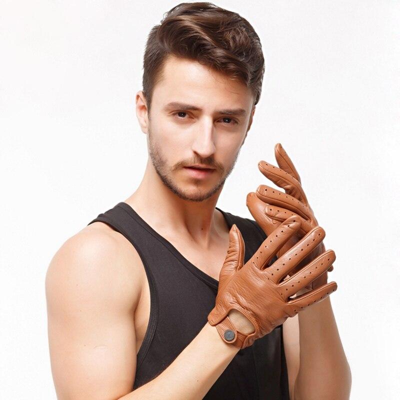 Mode 2018 hommes Deerskin gants poignet conduite gant solide adulte non doublé mitaines réel en cuir véritable gants livraison gratuite