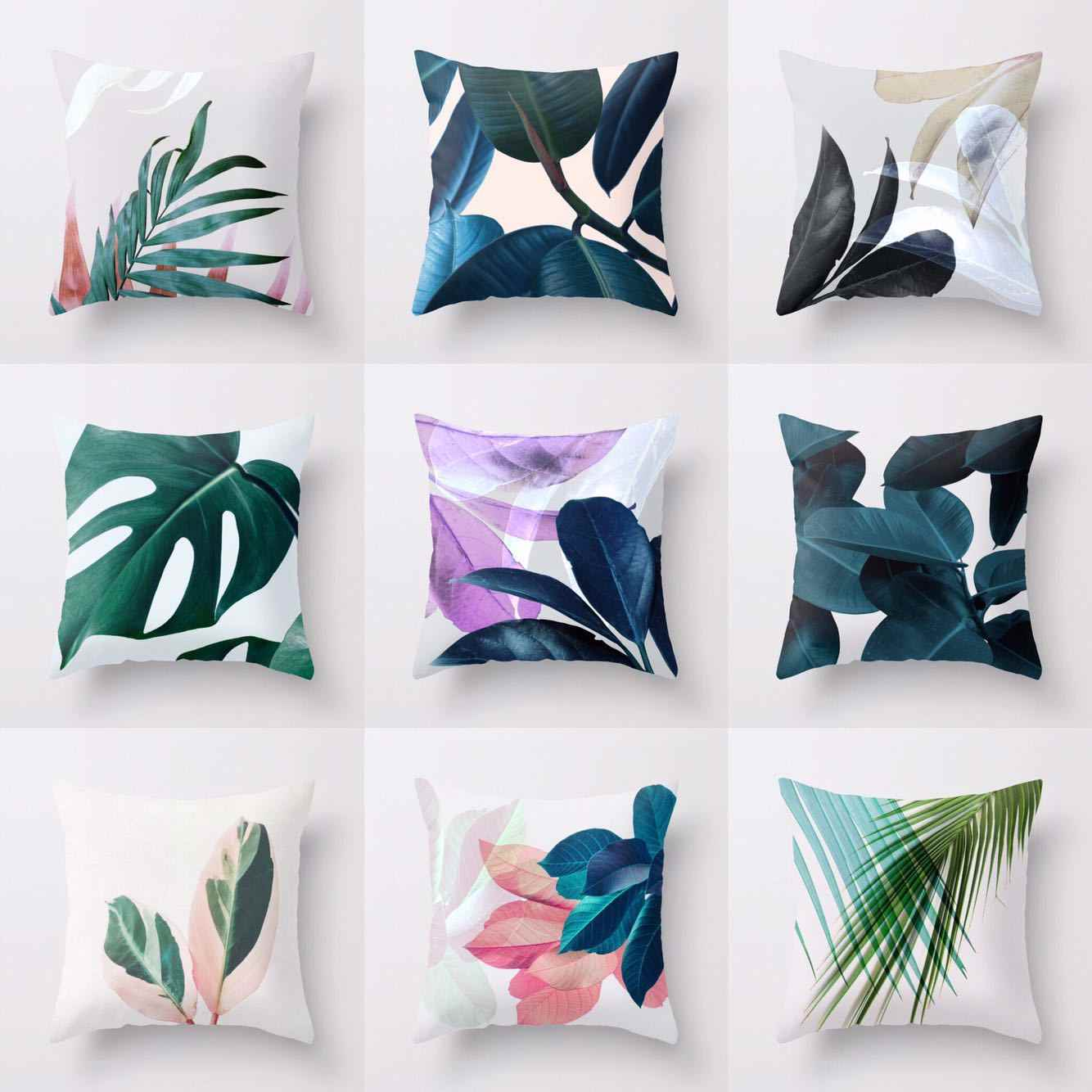 pillow covers for living room traditional home rooms detail feedback questions about plant leaf print cushion sofa waist pillowcase 45x45cm cover modern minimalist