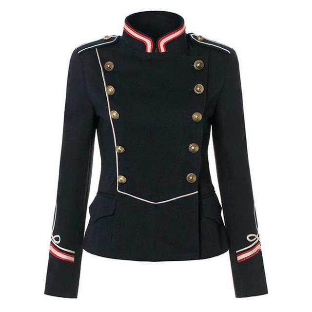 Cuello de pie de manga larga pure color short jacket coat europea Royal Army militar insignias sostenes blazer clásico w1603