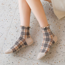 New style retro England Plaid womens socks Panick fair maiden literary and artistic fresh mid-barrel