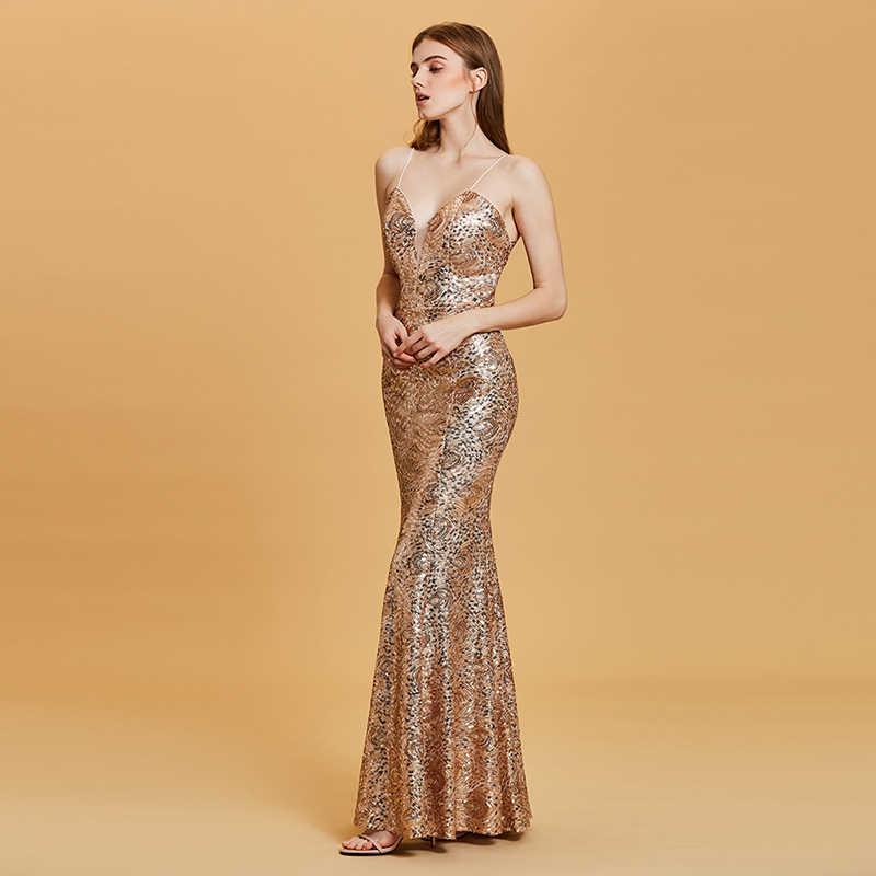 ... Tanpell backless evening dress golden spaghetti straps sleeveless floor  length dresses women party mermaid formal evening ff591df91ea1