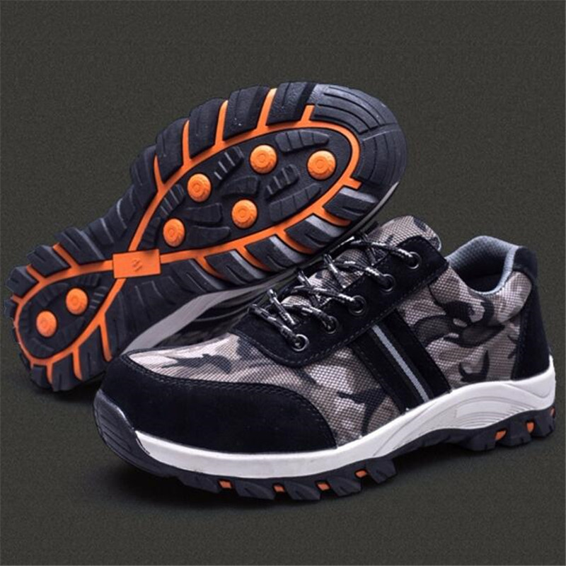 ELGEER Men Safety Work Boots Fashion Camouflage Breathable Mesh Steel Toe Casual Shoes Mens Labor Insurance Puncture Proof Shoes in Work Safety Boots from Shoes
