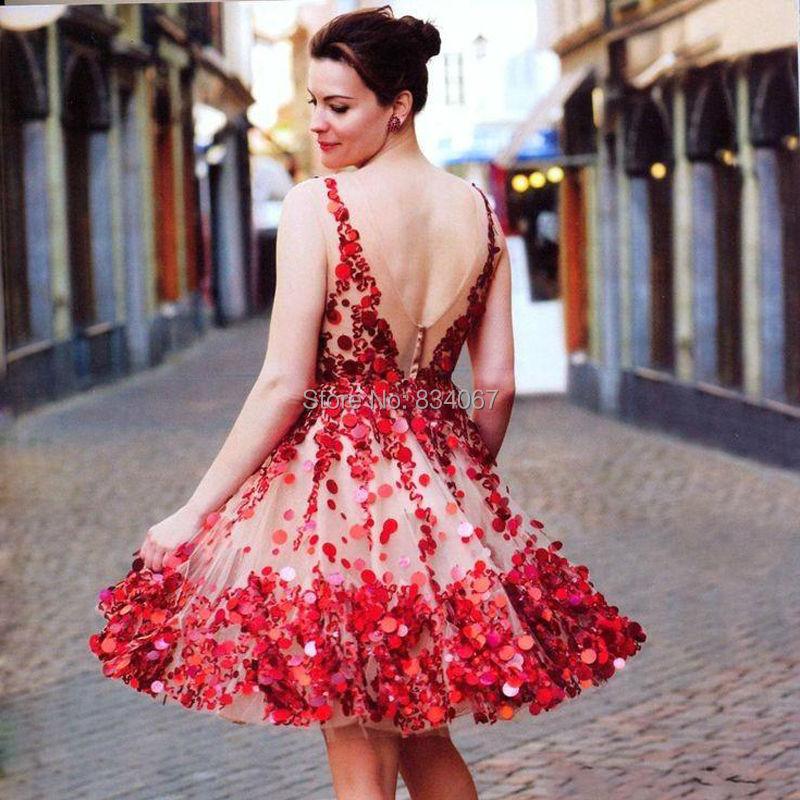 Red Sequins Deep V neck Sexy Short Prom Dresses 2017 Backless Knee ...