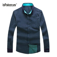 BFSBOYS 2017 Men Dress Eu Size Shirt Full Sleeve Business Polka Dot Shirts Formal Office Brand for Male Dark Blue Quality 667-2
