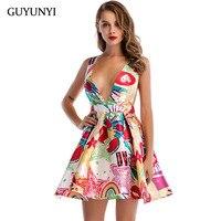 GUYUNYI Women Dress 2018 Summer Sleeveless Sexy Party Dress Lively Youth A Line Mini Female Vestidos