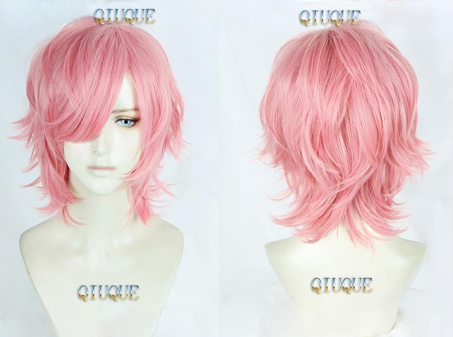 High Quality Anime Yarichin Bitch Bu Club Ayato Yuri Wigs Pink Curly Heat Resistant Synthetic Hair Perucas Cosplay Wig + Wig Cap