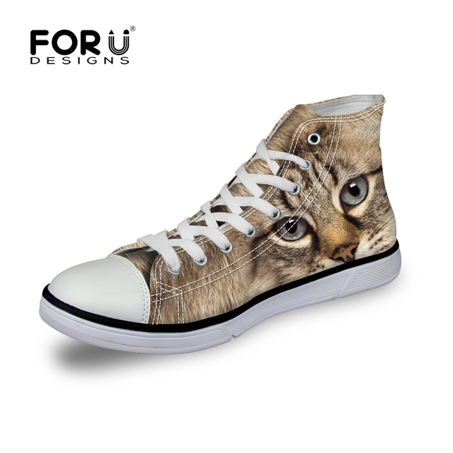 Brand Cute Cat Dog Printing High-top Canvas Shoes Woman Zapatos Mujer Casual Girls Shoes Ladies Lace-up Platform Animal Shoes