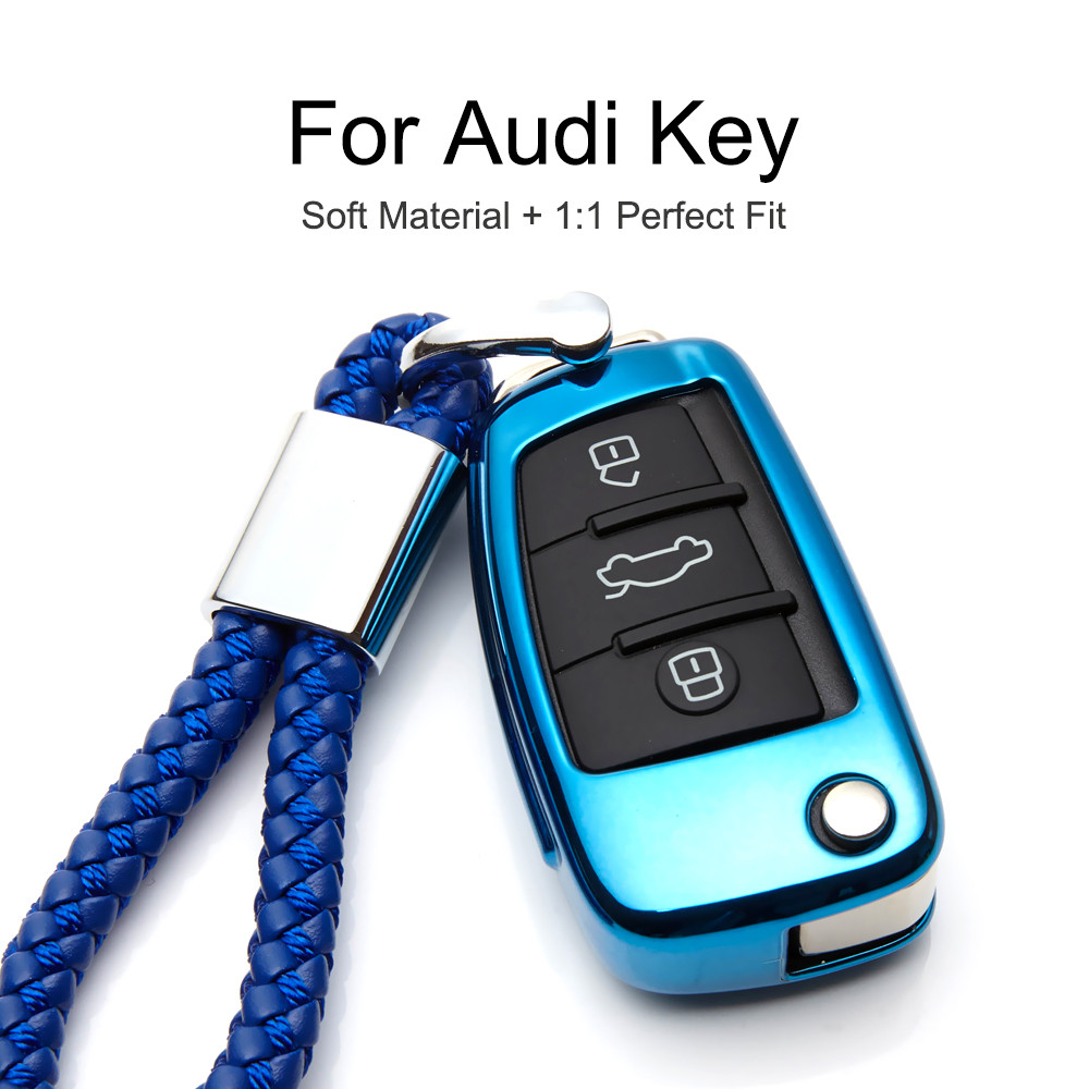 Car Key Cover for Audi Soft TPU Silicone Protective Key Fob Cover for Audi A4 A5 A6 Q5 Q7 Q8 S6 S7 S8 RS5 RS6 Button Flip Key