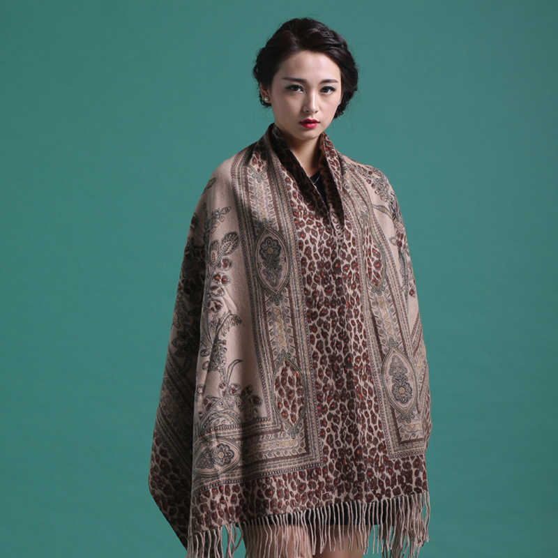 Women Shawls 100%Wool Winter New Shawl Cashmere   Scarves     Wrap   Thick Pashmina Print Flower Mujer Bufanda Tassels Muffler   Scarf